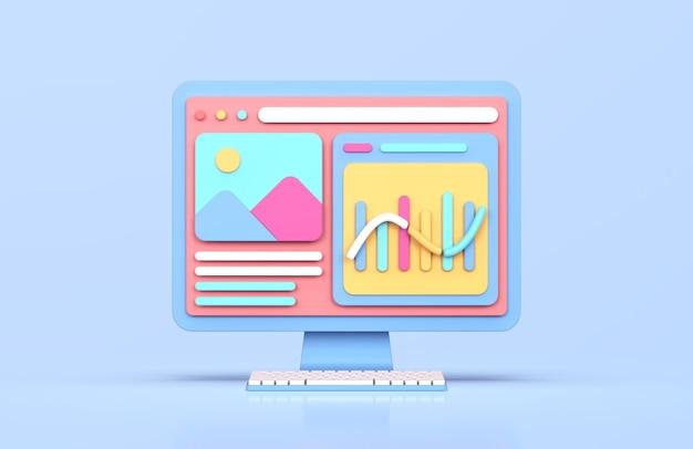 Website analytisches 3d-rendering