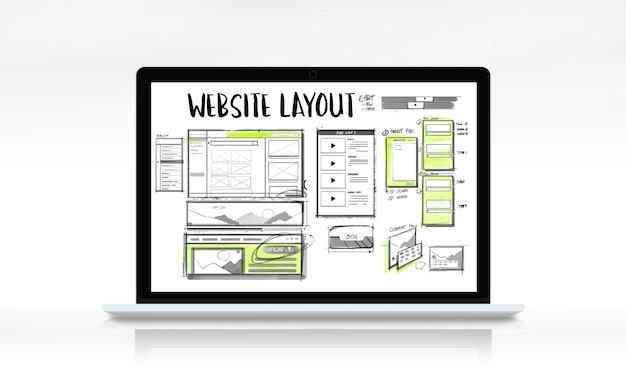Website-entwicklungs-layout-skizze-zeichnung