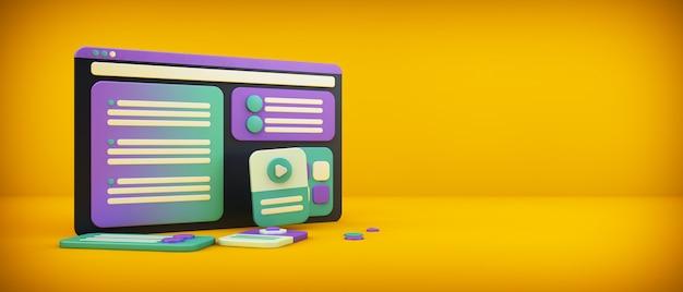 Website-oberfläche auf gelbem hintergrund