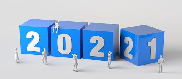 Wechsel vom jahr 2021 zum jahr 2022 mit blauen würfeln und menschen herum. 3d-darstellung.