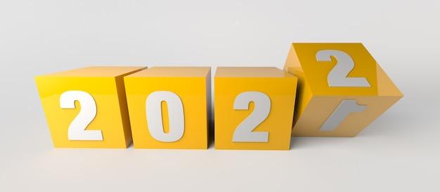 Wechsel vom jahr 2021 zum jahr 2022 mit gelben würfeln. 3d-darstellung.