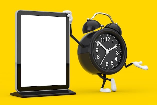 Wecker-charakter-maskottchen mit leerem messe-lcd-bildschirmständer als vorlage für ihr design auf gelbem hintergrund. 3d-rendering