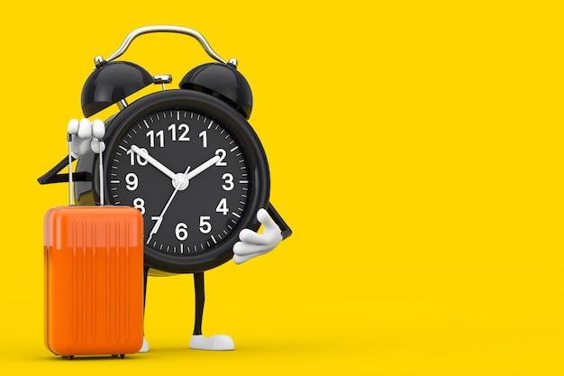 Wecker-charakter-maskottchen mit orangefarbenem reisekoffer auf gelbem hintergrund. 3d-rendering