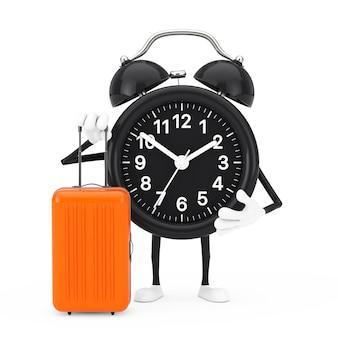 Wecker-charakter-maskottchen mit orangefarbenem reisekoffer auf weißem hintergrund. 3d-rendering