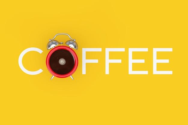 Wecker tasse schwarzen kaffee als kaffee-zeichen auf gelbem grund. 3d-rendering