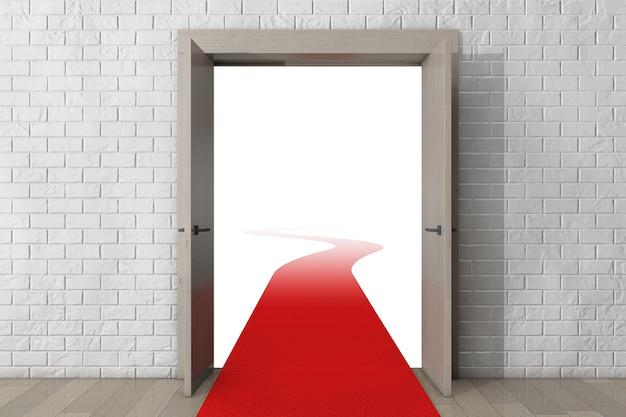 Weg zum erfolg. tür mit rotem teppich vor brick wall extreme nahaufnahme