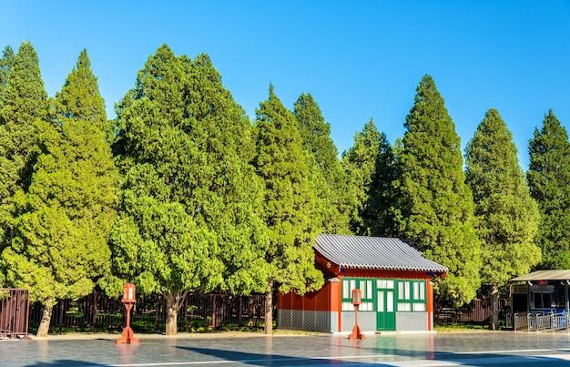 Weg zum kreisförmigen hügelaltar im himmelstempel in peking. unesco-weltkulturerbe in china
