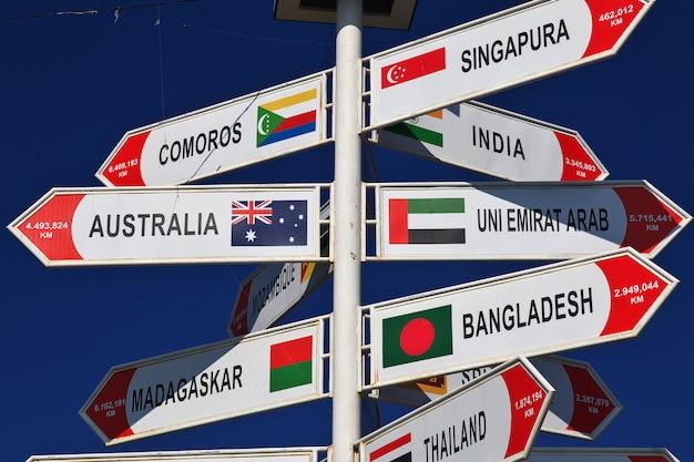 Wegweiser, der den abstand zu den verschiedenen ländern zeigt
