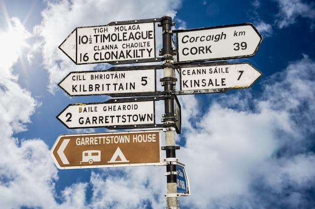 Wegweiser für orte in kork irland