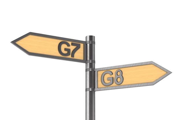 Wegweiser mit schild g7 und g8 gruppe auf weiß