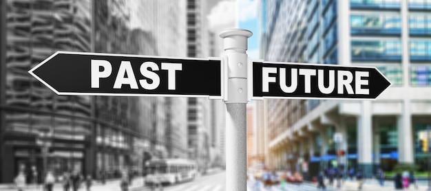 Wegweiser mit vergangenen und zukünftigen richtungsentscheidungen