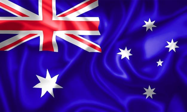 Wehende flagge von australien. 3d-rendering.