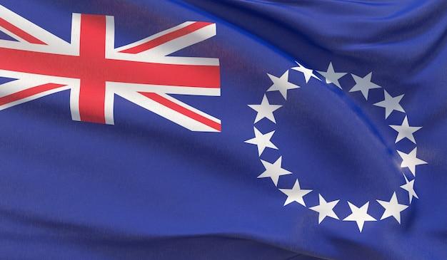 Wehende nationalflagge der cookinseln. winkte hochdetaillierte nahaufnahmen 3d-rendering.