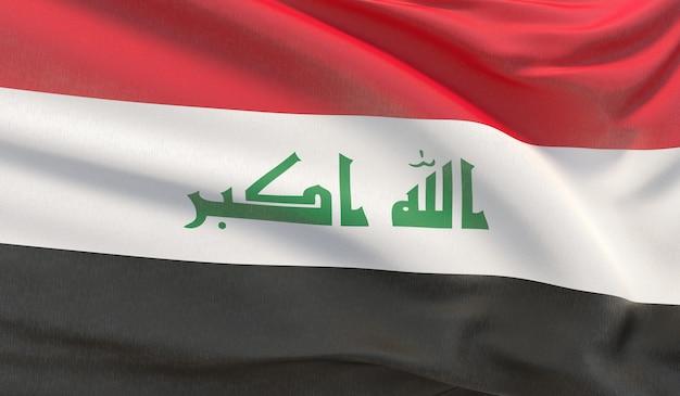 Wehende nationalflagge des irak. winkte hochdetaillierte nahaufnahmen 3d-rendering.