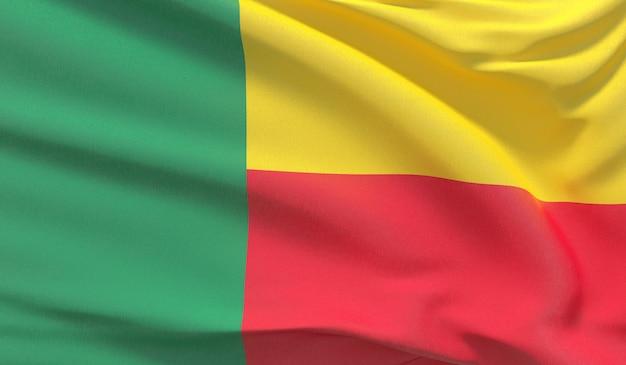 Wehende nationalflagge von benin. winkte hochdetaillierte nahaufnahmen 3d-rendering.