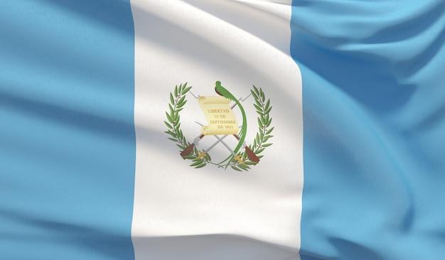 Wehende nationalflagge von guatemala. winkte hochdetaillierte nahaufnahmen 3d-rendering.