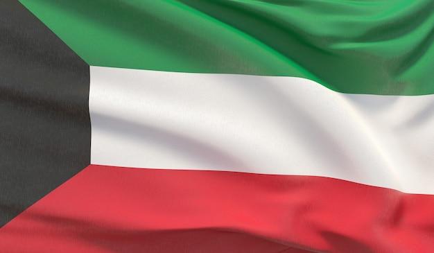 Wehende nationalflagge von kuwait. winkte hochdetaillierte nahaufnahmen 3d-rendering.