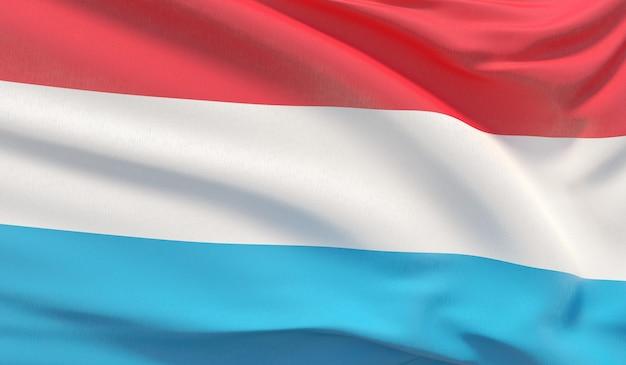 Wehende nationalflagge von luxemburg. winkte hochdetaillierte nahaufnahmen 3d-rendering.