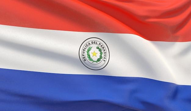 Wehende nationalflagge von paraguay. winkte hochdetaillierte nahaufnahmen 3d-rendering.