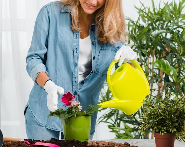 Weibliche bewässerungsblume der nahaufnahme
