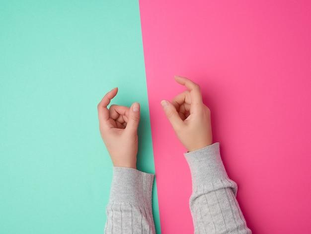 Weibliche hände auf einem grünen rosa, finger in der geste des haltens des themas