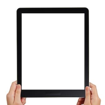 Weibliche hände, die ein tablet-touch-computer-gerät halten