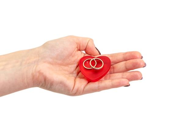 Weibliche hände, die roten herd mit eheringen auf weißer oberfläche halten. valentinstag konzept.