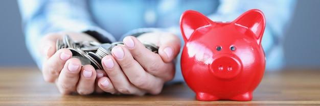Weibliche hände halten eine handvoll münzen neben dem roten sparschwein und kapital