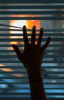 Weibliche hand, die lamellen eines blinden trennt, um durch zu schauen