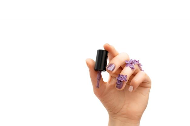 Weibliche hand, die lila nagellackflasche hält. frühlingskonzept.