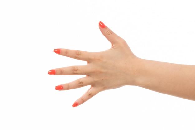 Weibliche hand einer vorderansicht mit farbigen nägeln, die ihre hand auf dem weiß zeigen