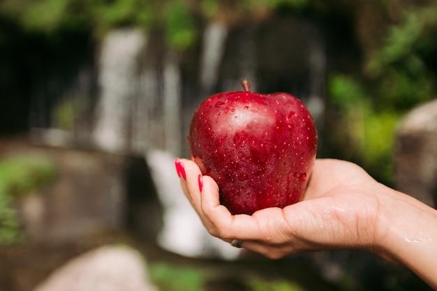 Weibliche hand hält einen frischen leckeren roten apfel auf einem hintergrund eines wasserfalls