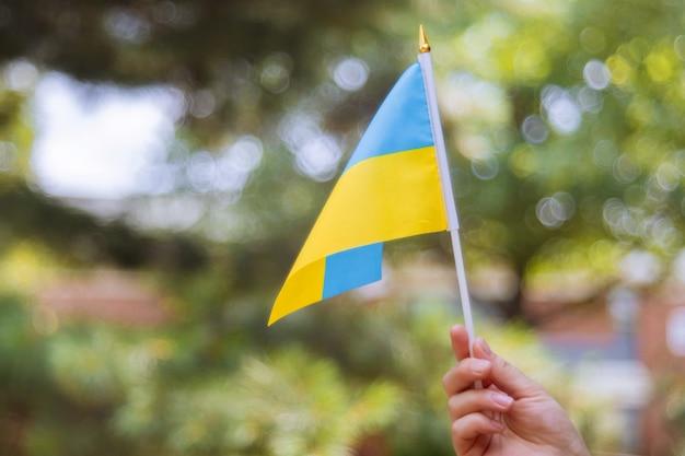 Weibliche hand mit einem ukraine-unabhängigkeitstag der blauen und gelben flagge