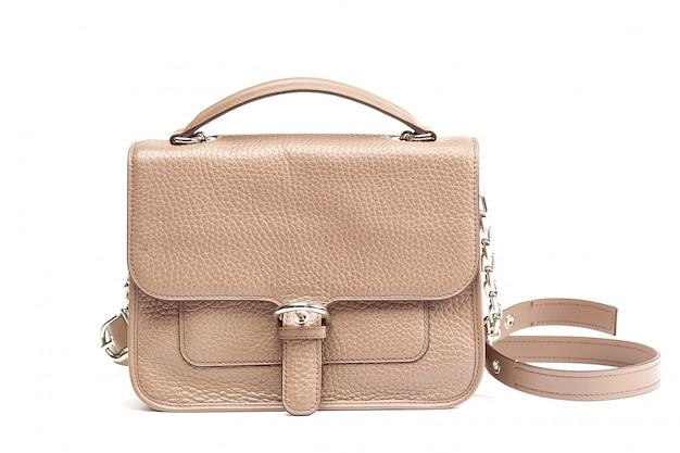Weibliche lederhandtasche.