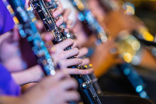 Weibliche musikerhände, die auf klarinette spielen