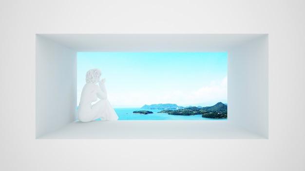 Weibliche skulptur, die auf dem fenster mit seeansicht und hellem himmel sitzt