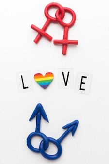 Weibliche und männliche symbole der sexuellen orientierung