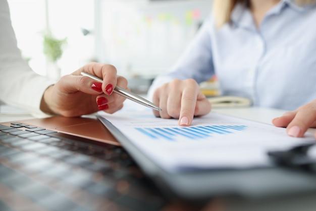 Weibliche vermarkter diskutieren bericht in geschäftsdiagrammen entwicklung kleiner und mittlerer unternehmen
