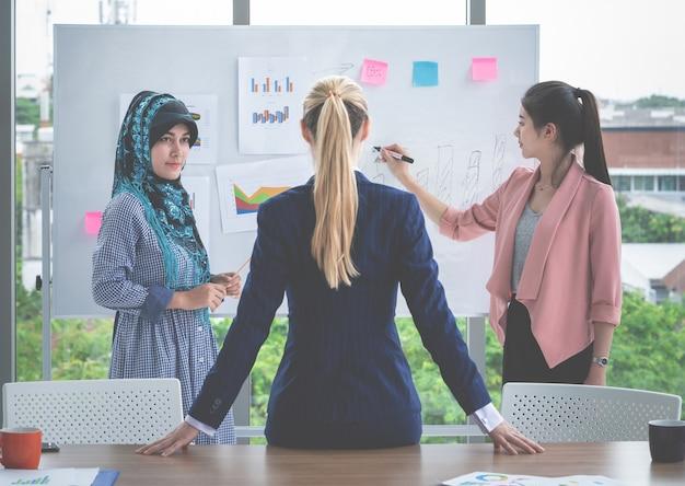 Weiblicher chefführer hört auf darstellung durch arbeitnehmerin