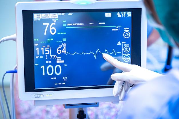 Weiblicher chirurg, der monitor im operationsraum verwendet.
