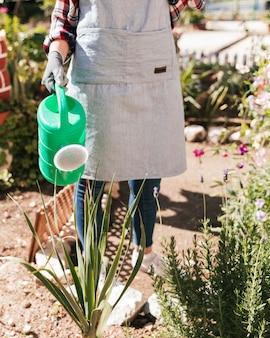 Weiblicher gärtner, der die anlagen im garten wässert
