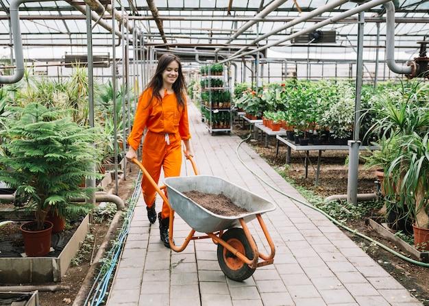 Weiblicher gärtner in der arbeitskleidung, die schubkarre mit boden im gewächshaus drückt