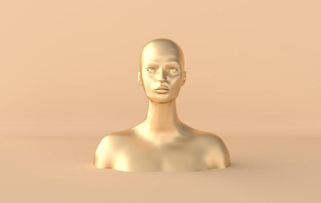 Weiblicher goldener mannequinkopf