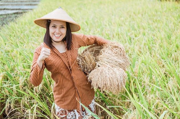 Weiblicher landwirt, der einen hut mit einem daumen hoch im reisfeld trägt, während reispflanze in gewebtem bambuskorb nach ernte trägt