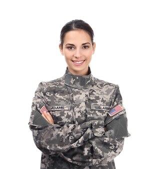 Weiblicher soldat isoliert