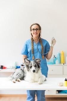 Weiblicher tierarzt, der das stethoskop steht hinten mit dem hund sitzt auf tabelle in der klinik zeigt