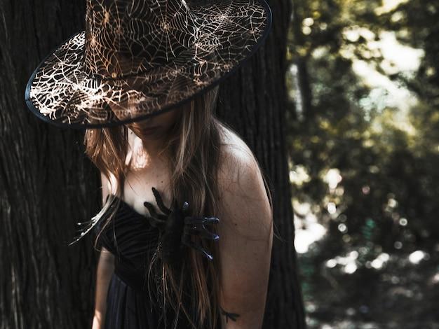 Weiblicher zauberin im hut und in der spinne auf kasten im sonnenbeschienenen dickicht