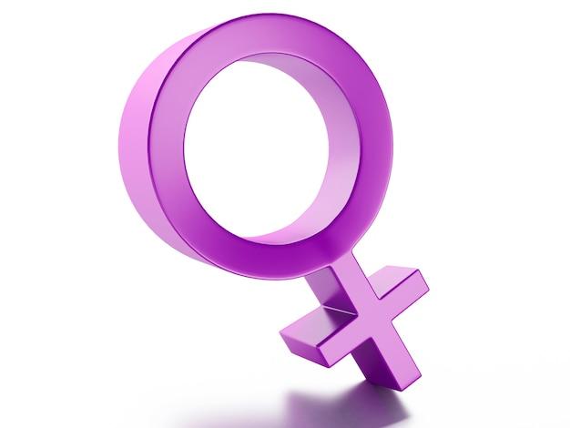 Weibliches geschlechtssymbol getrennt auf weißem hintergrund