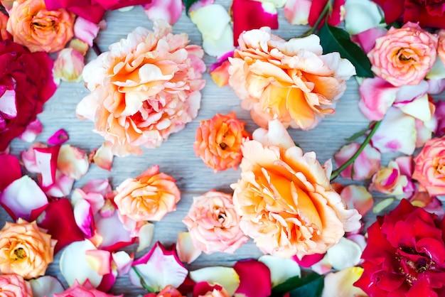 Weiche farbe roses background auf hölzernem