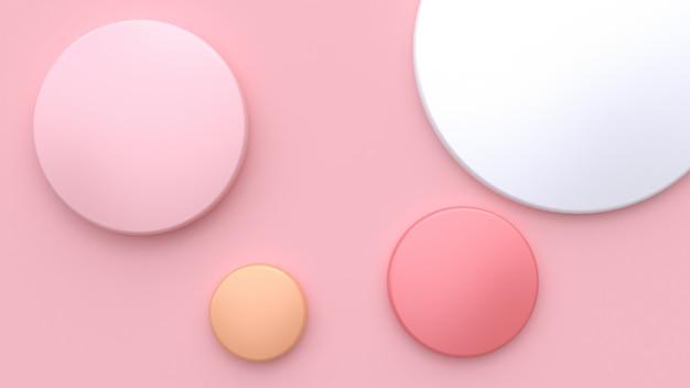 Weiche rosa minimale wiedergabe des hintergrundes 3d des weißen rosa orange kreises